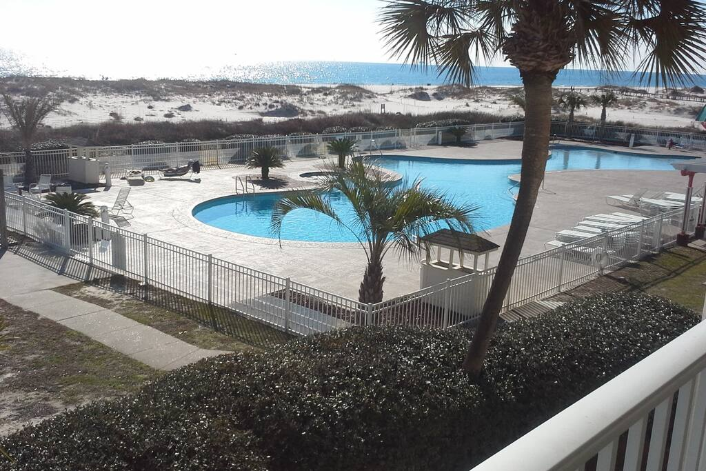 Another balcony pic from 2204 overlooking one of our 6 outdoor pools!