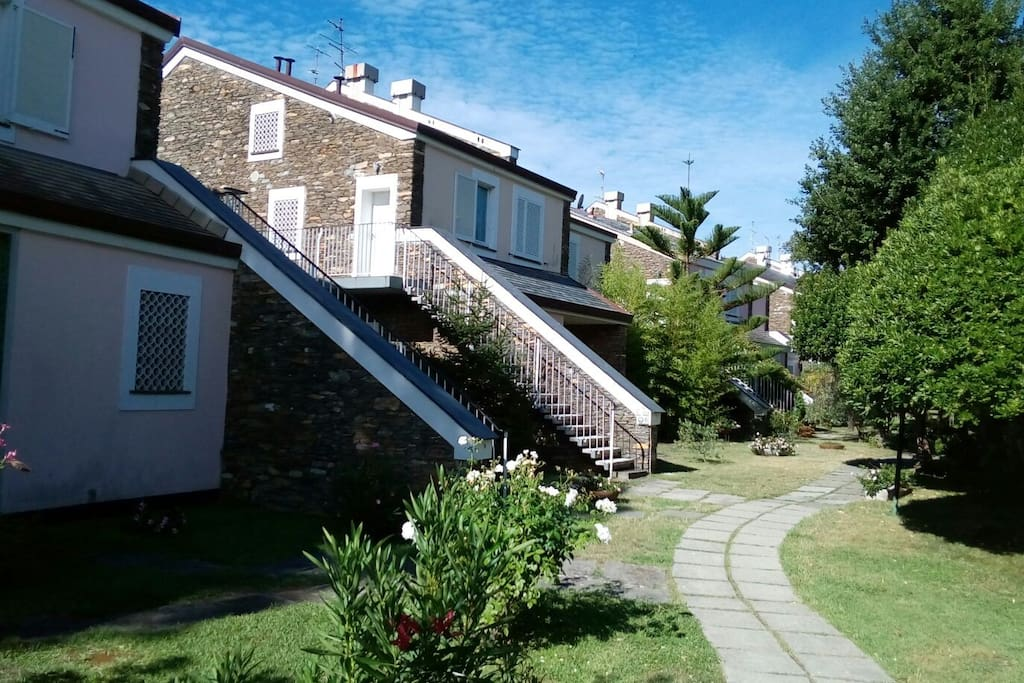 The apartment is situated in a small complex, 'Maristella' nicely landscaped. Rare and lovely thick exterior stone walls. Place does not overheat in summer like many others do.