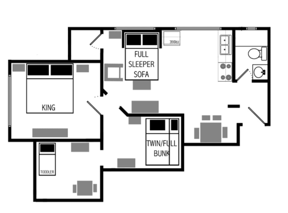 Floor plan- 550 square feet.  Please make sure you see the pictures and furniture for scale.  This is a small but very comfortable unit