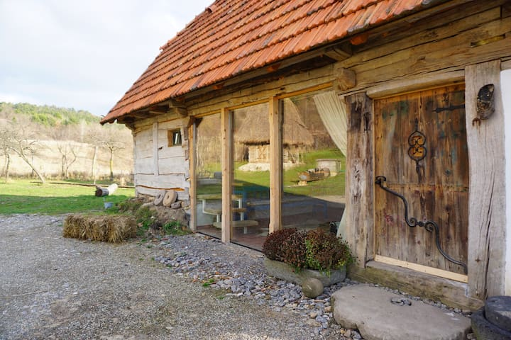 Old wooden barn in Transylvania