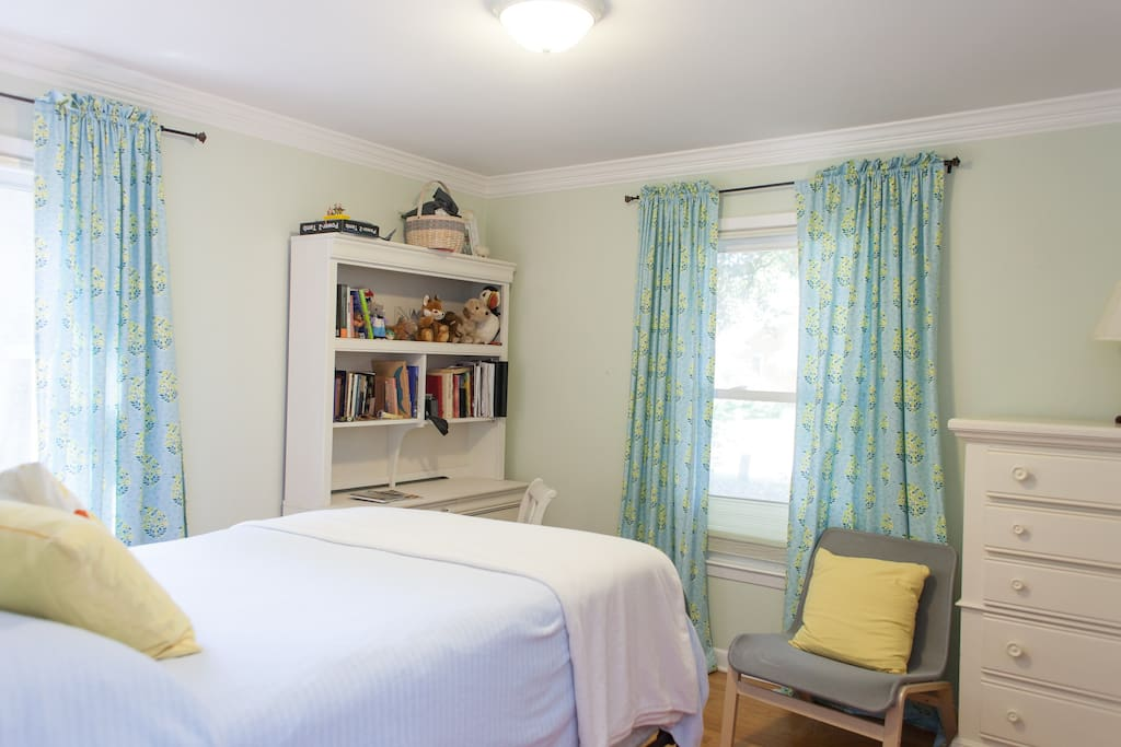 This is the downstairs BR, with your own closet and drawers and full-sized (comfortable) antique bed. downstairs.