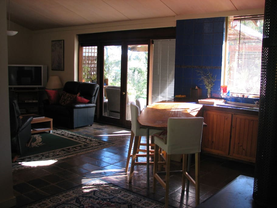 Kitchen, lounge and verandah with valley views