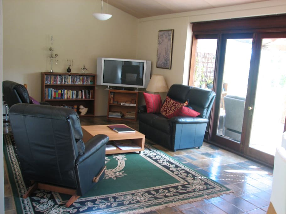 Lounge area with wifi, television screen and DVD player.