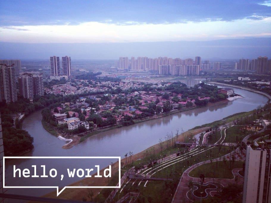 欣赏蜿蜒府南河的江景,成都最漂亮的主干道夜景