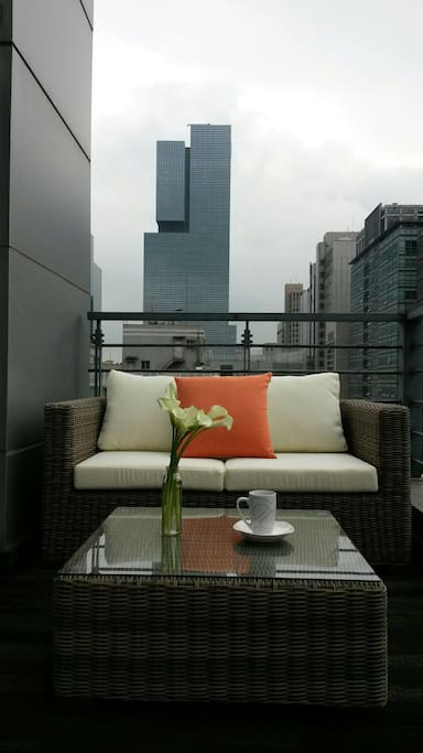 Gorgeous rattan sofa at terrace