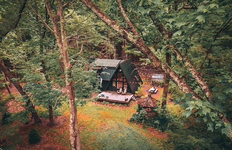 A Black A- Frame: Sustainable Catskills A-Frame