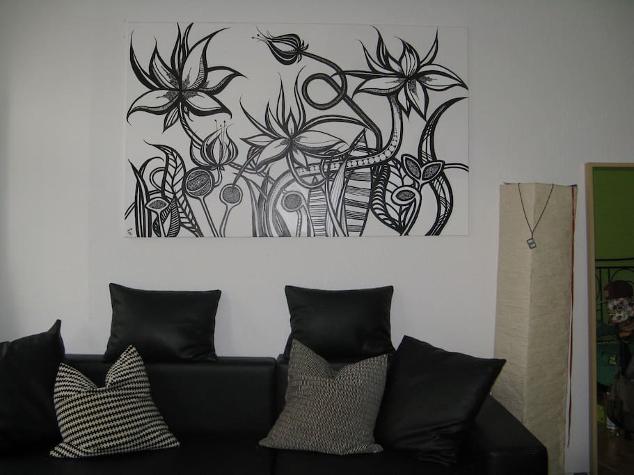 Sofa and art