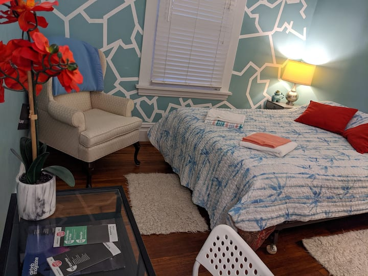 Modern room in a brick home next 2 downtown (blue)