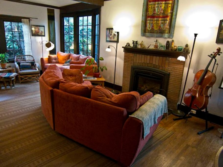 Living room, seen from entrance. Fireplace is gas, works wonderfully.