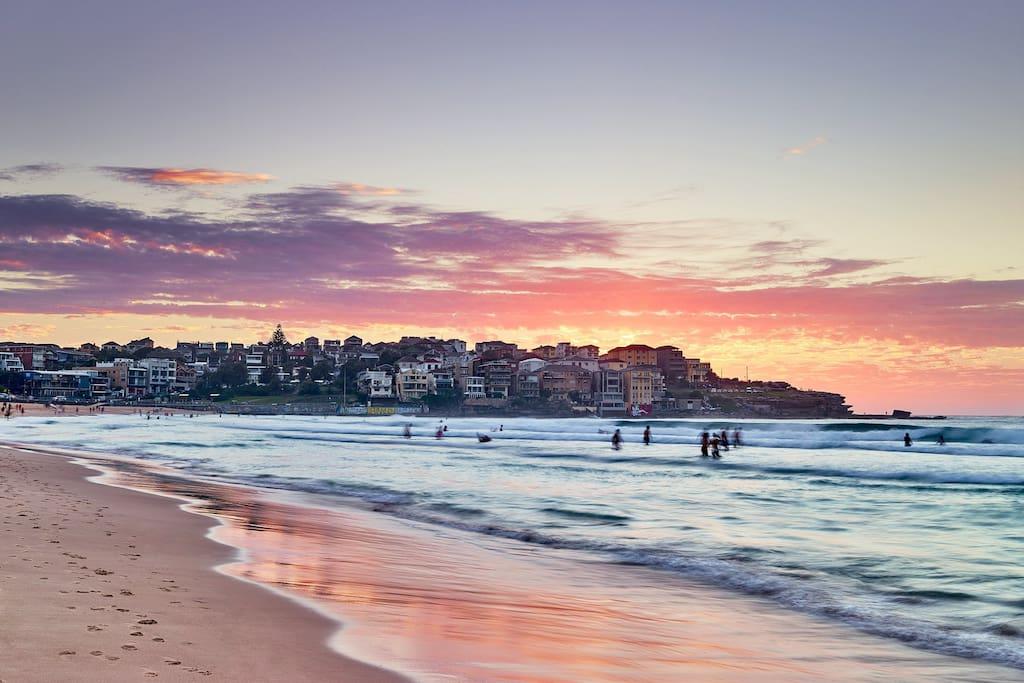 Bondi Beach sunsets can't be missed. 2 minute bike ride away, or 7 minute walk
