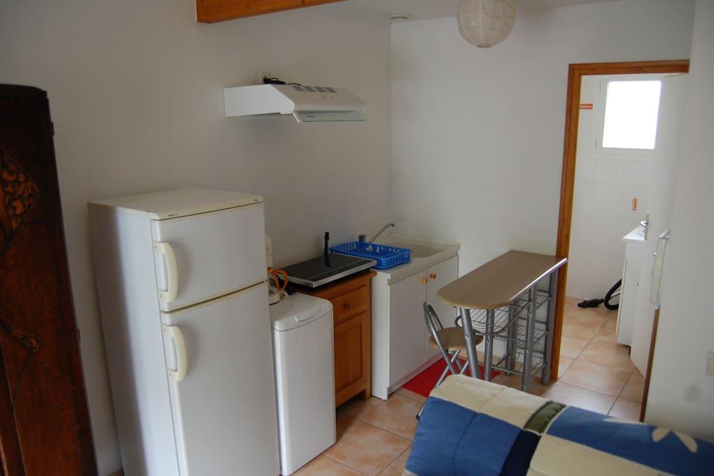 Espace cuisine avec réfrigérateur/congélateur, plaques à induction
