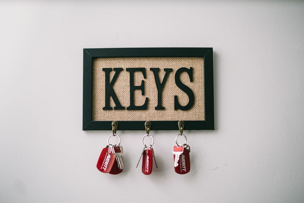 This is hanging by the front door. Every bedroom has a separate private lock for your convenience and security. Each key ring is labeled with the associated bedroom # and has a copy of the front door key as well. Your room is room #1, so you would use key #1