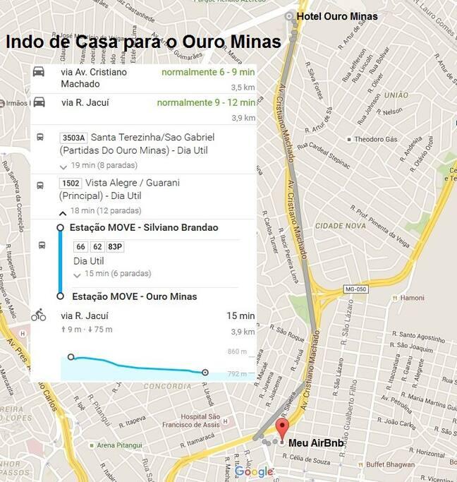 Fácil acesso ao Hotel Ouro Minas, com inúmeras opções de ônibus dia, noite e madrugada há menos de 200m de distância.