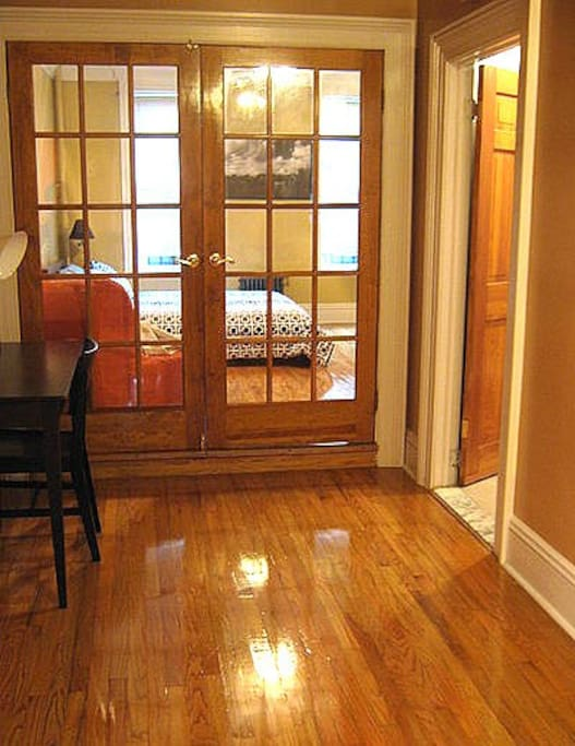 French doors leading to bedroom.