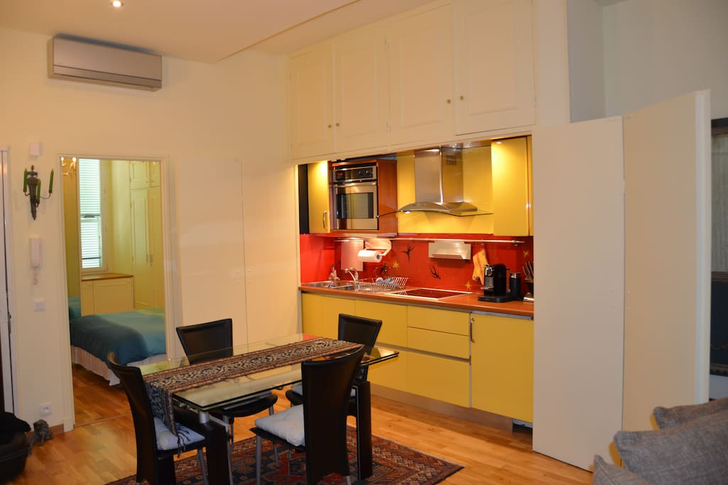 Modern gallery kitchen fully equiped with nespresso machine, induction cooker and stove