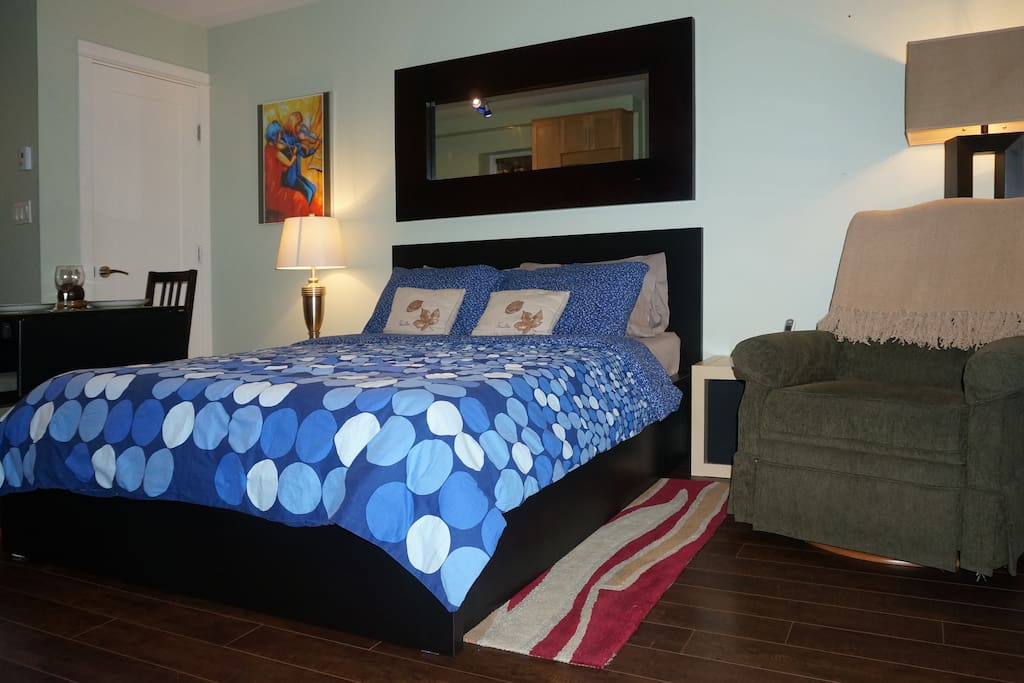 Relax and enjoy a great night sleep in our new queen sized bed!