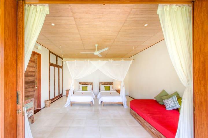 Ghanapati spacious villa room rice paddy views