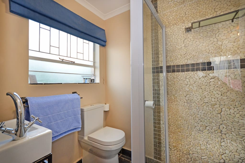 Bathroom with shower attached to room