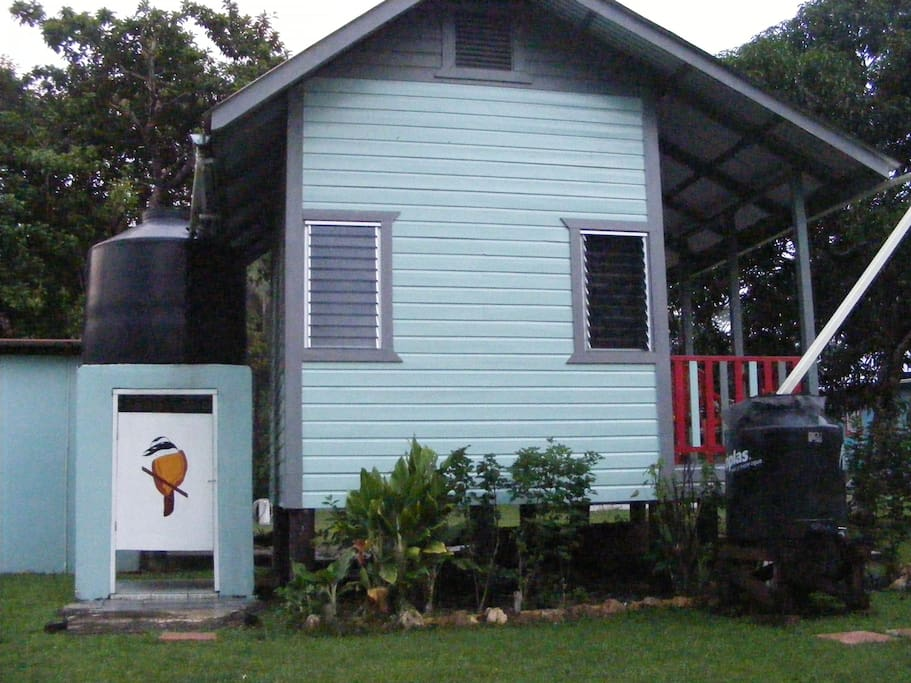 AQUA cabana side view.  RAINWATER is used for showers & filtered for drinking.  A Kiskadee bird is our mascot.