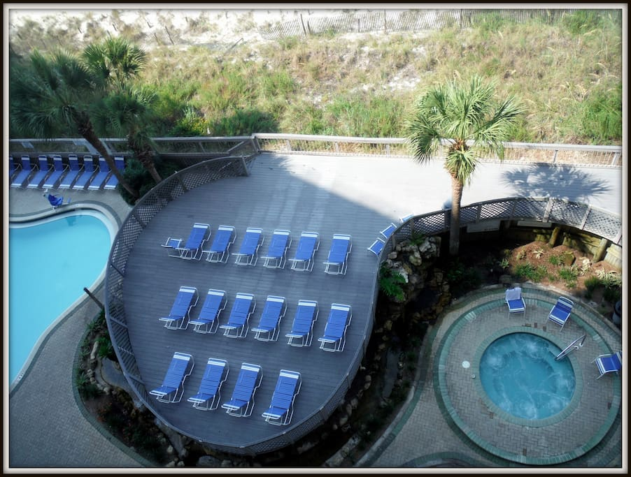 Pool, Sundeck and Hot Tub view from Balcony