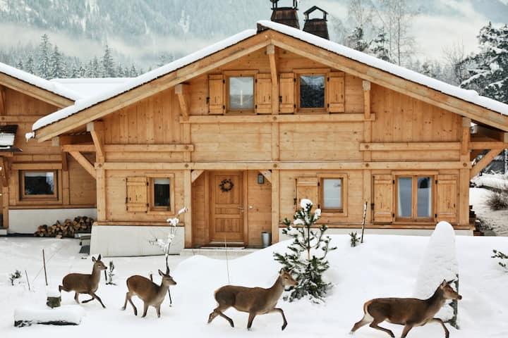 Beautiful chalet Arolles. Top view & sauna
