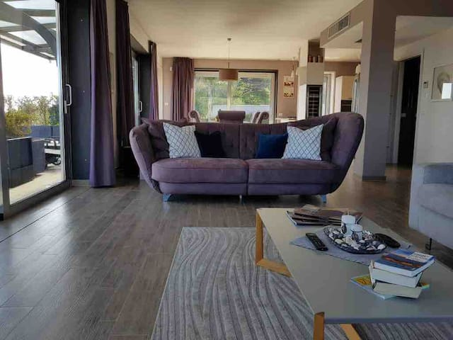 Living room couch with the floor-deep window front