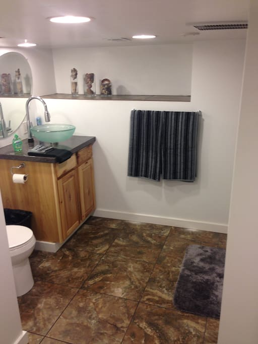 Clean little bathroom with stand up shower.
