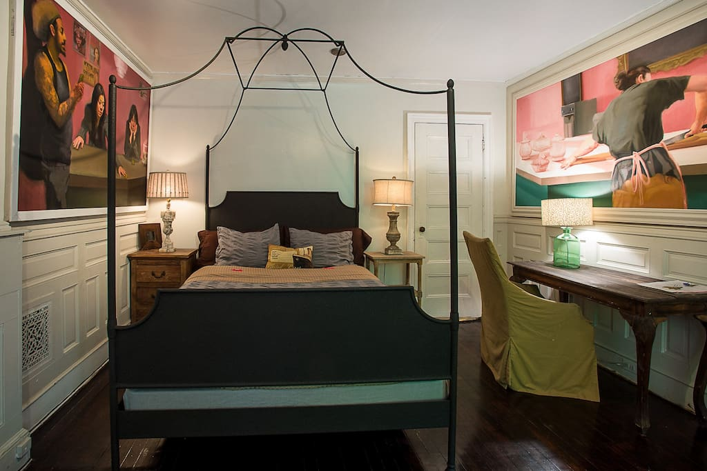 main bedroom with queen size Restoration Hardware poster bed