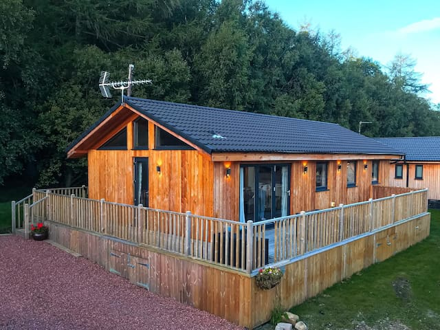 Beautiful Otterburn lodge, on edge of wood.