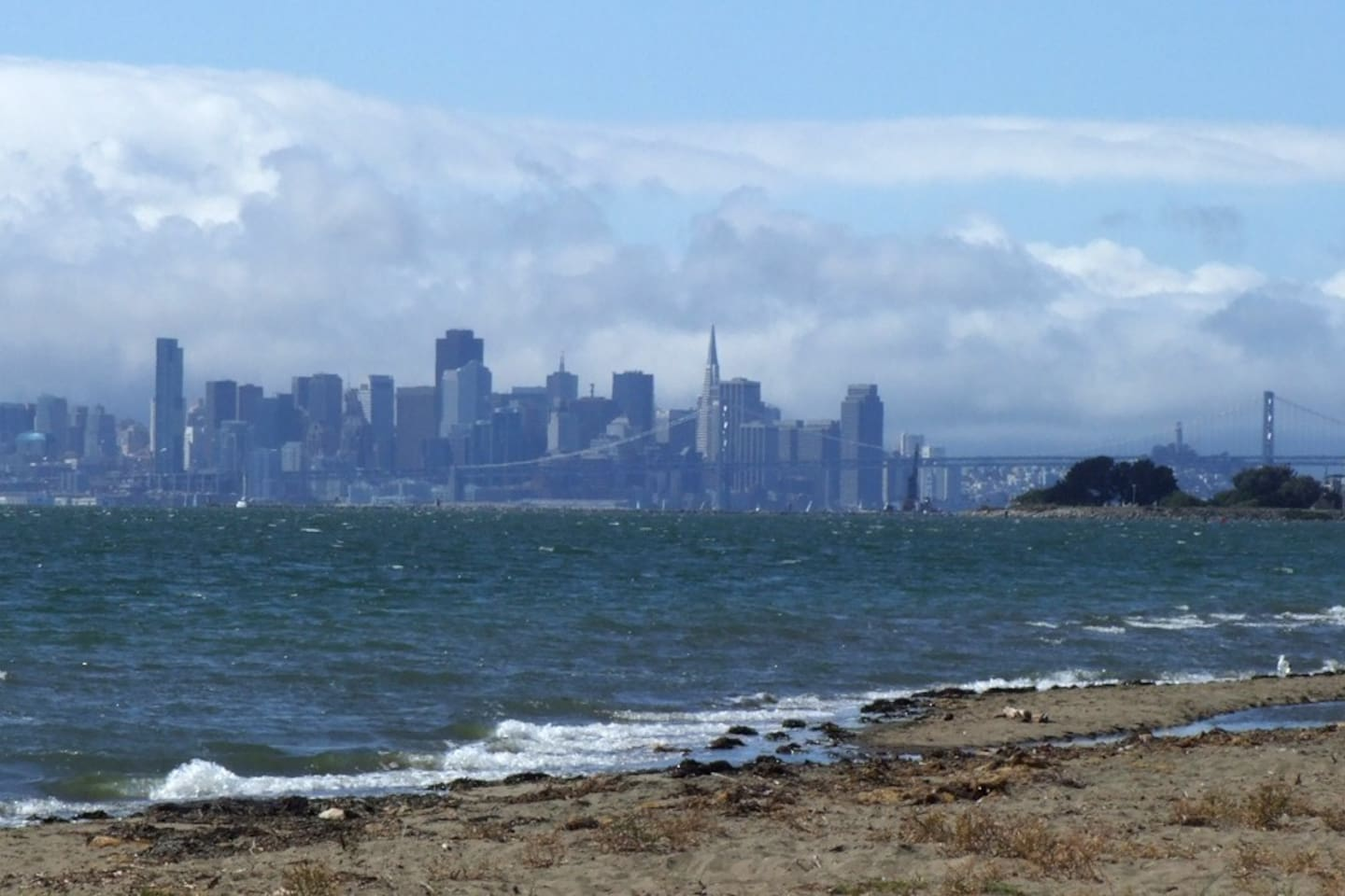We are near the beach with a view of the SF skyline.