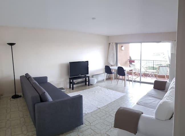 La pièce de vie avec vue sur la baie de Cannes. L'appartement avec 1 canapé canapé-lit 2 personnes, TV grand écran et équipement connections internet.