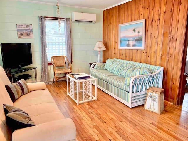 Sleeper sofa and original knotty pine walls and oak floors