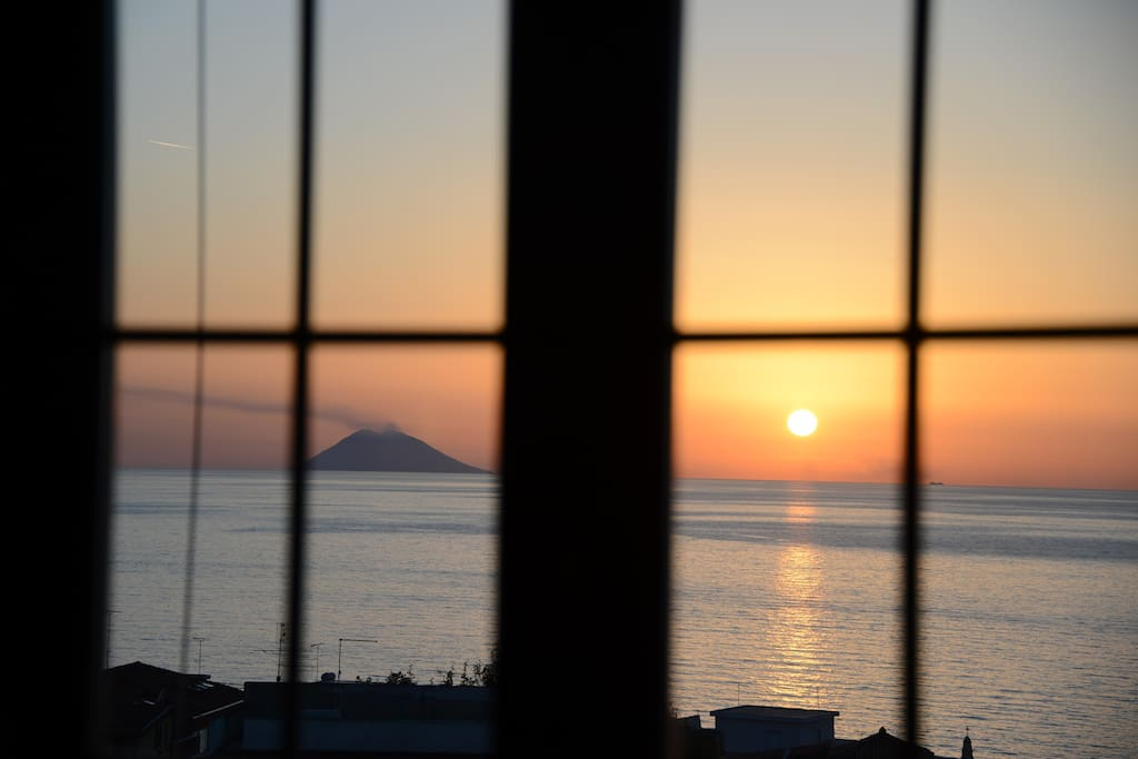 Loungeroom view of Stromboli volcano at sunset