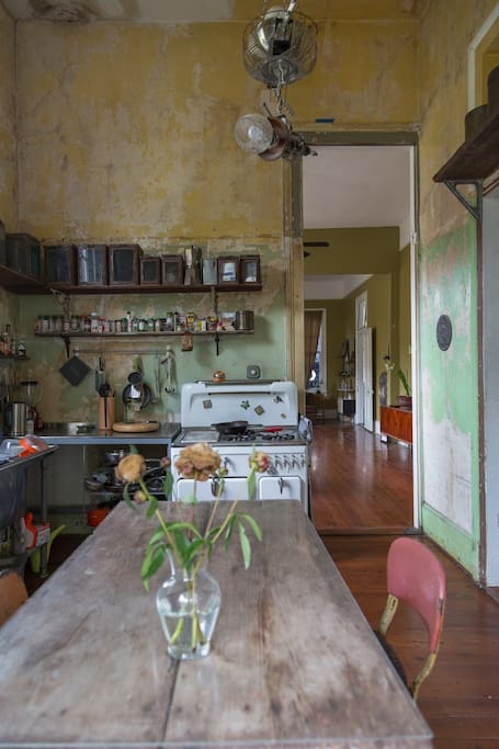 Kitchen showing original 50's paint scheme of house, as well as vintage Chambers gas stove with oven, grill, great burners, etc.