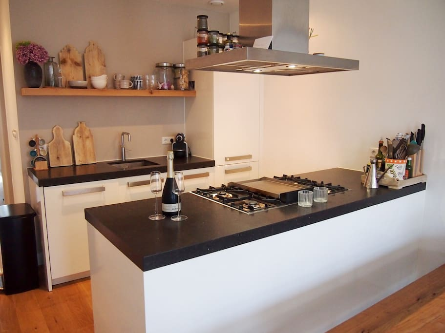 Modern kitchen with dishwasher, Quooker, large oven and Fry-top (Teppan Yaki).