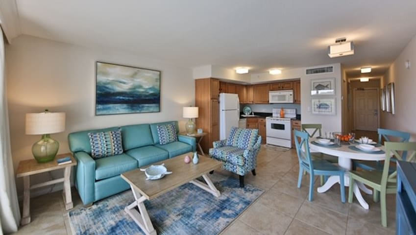 Open concept living room, dining room and kitchen. Perfect for those with mobility issues or small children!