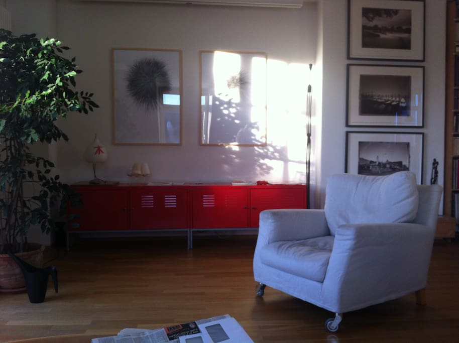 Living area with beautiful art