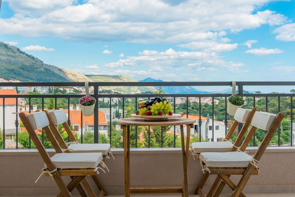 Balcony with beautiful view :) ...and outdoor seating / dining area