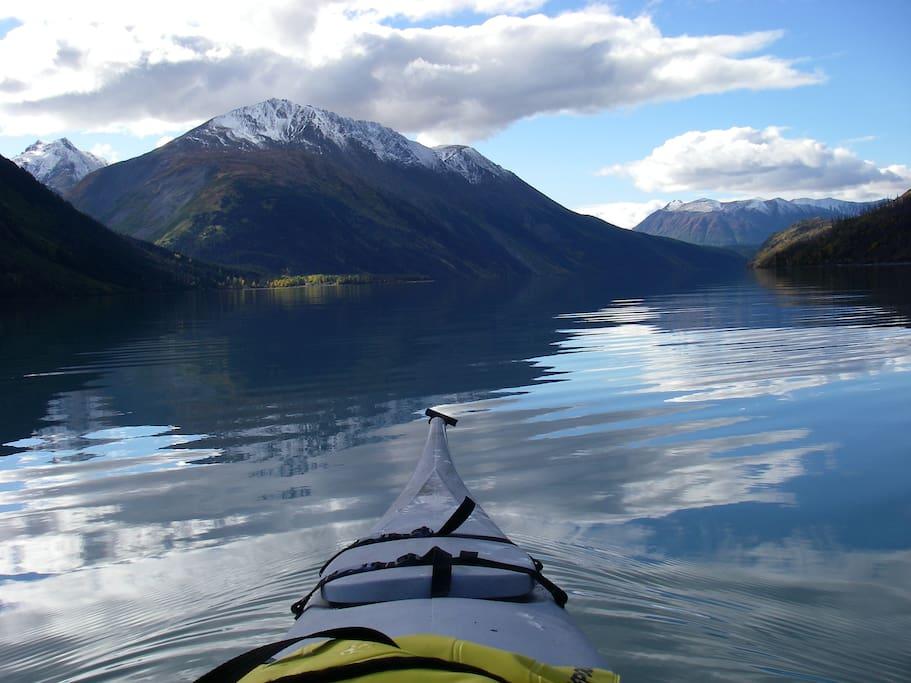 Kayaking on Kenai Lake.