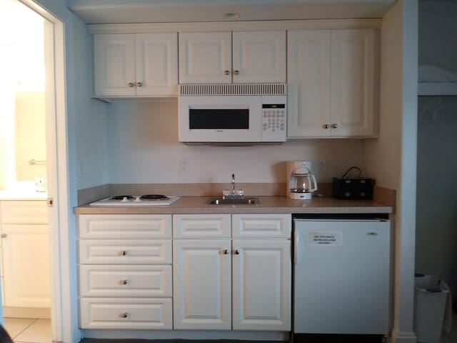 Stove top, fridge, microwave, sink, dishes, coffee maker, toaster