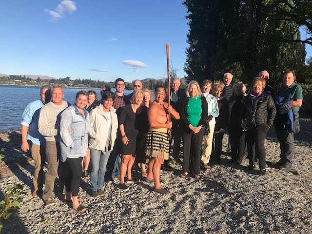 A Māori Welcome to Wanaka for guests down at the lake.