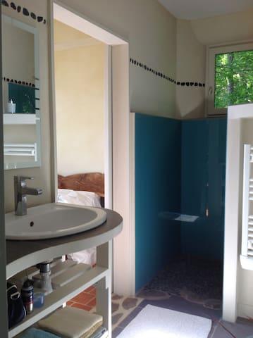 Vous avez à votre disposition une salle de bain avec douche à l'italienne, lavabo, radiateur sèche-serviette et toilettes.