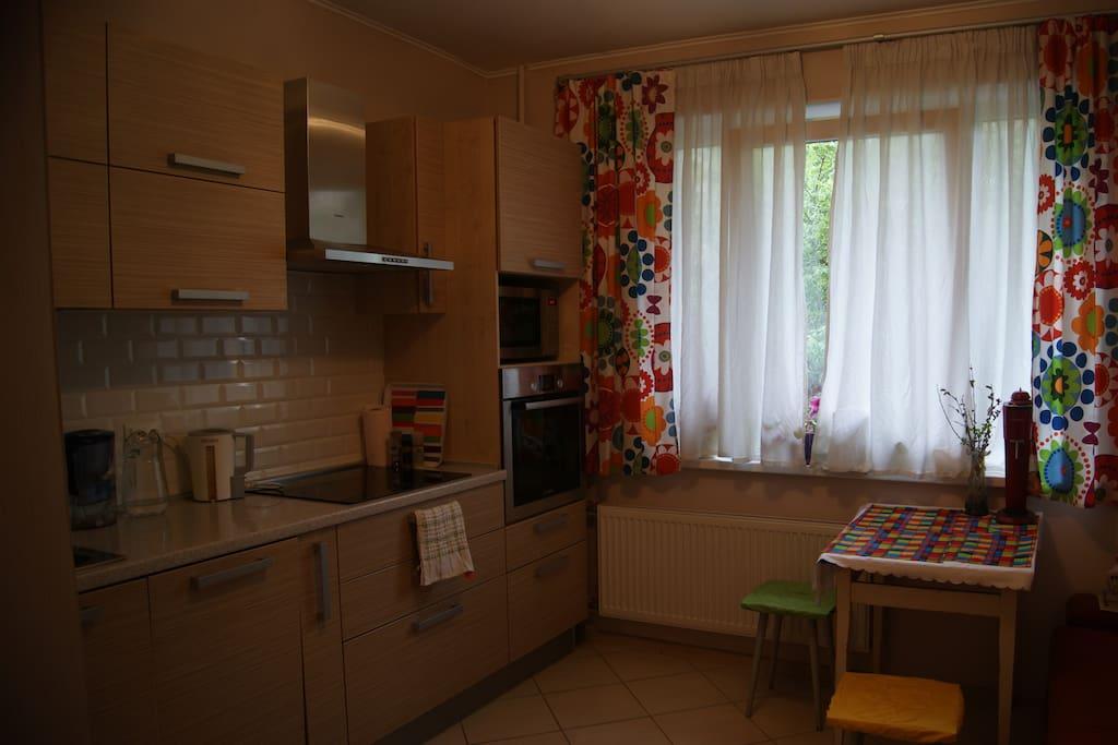 На кухне есть все необходимое: плита, микроволновая печь, духовка, холодильник, чайник