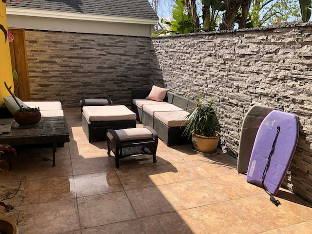 Small intimate front courtyard is great for reading and getting a little sun!