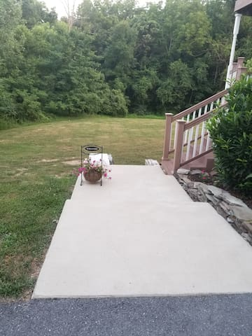 Walkway to downstairs entrance door