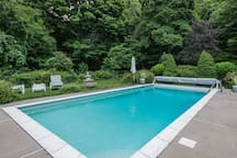 Pool area is shared with us. It includes lounge chairs, hot tub, and pool is maintained approximately May to September.