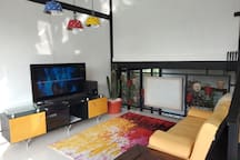 Family living room with tv and audio set