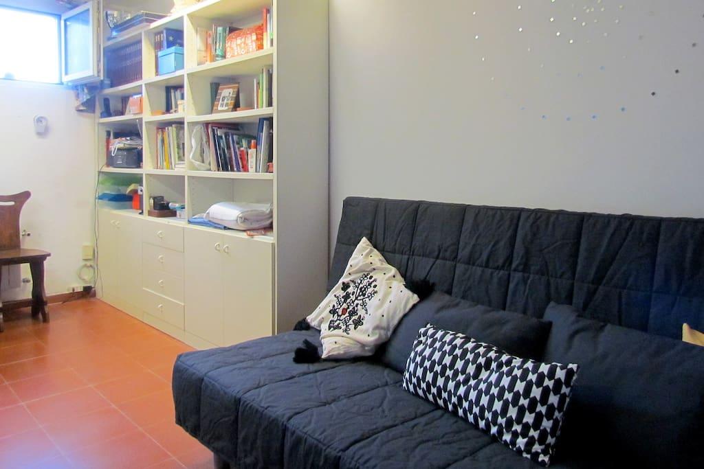 Vista della camera con divano e libreria