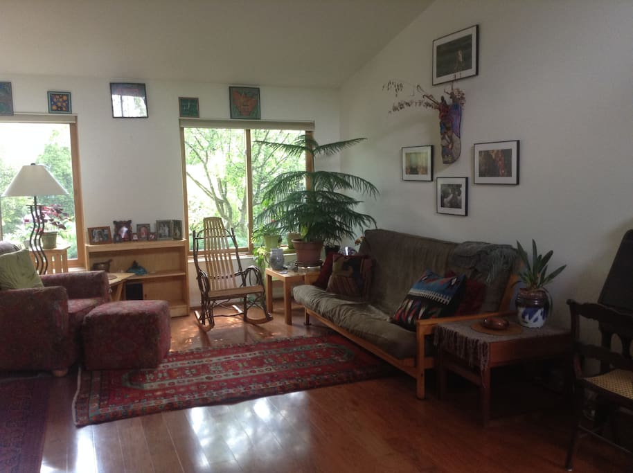 Living room facing garden with southwest light under cathedral ceiling (Wall decor optional)