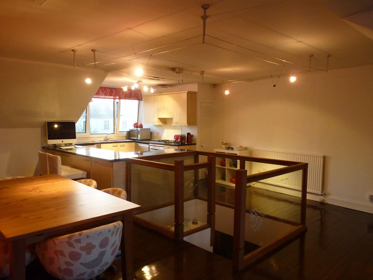 Sociable open plan kitchen and dining areas.